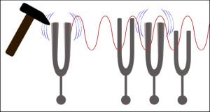 Seule le diapason de construction absolument identique au diapason frappé, donc qui possède la même fréquence d'oscillation, peut entrer en résonance avec lui